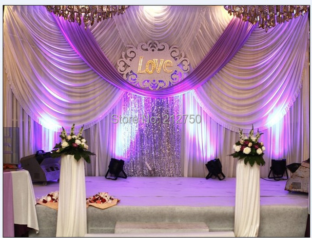 Buy luxurious white purple 3m 6m marriage for Background curtain decoration