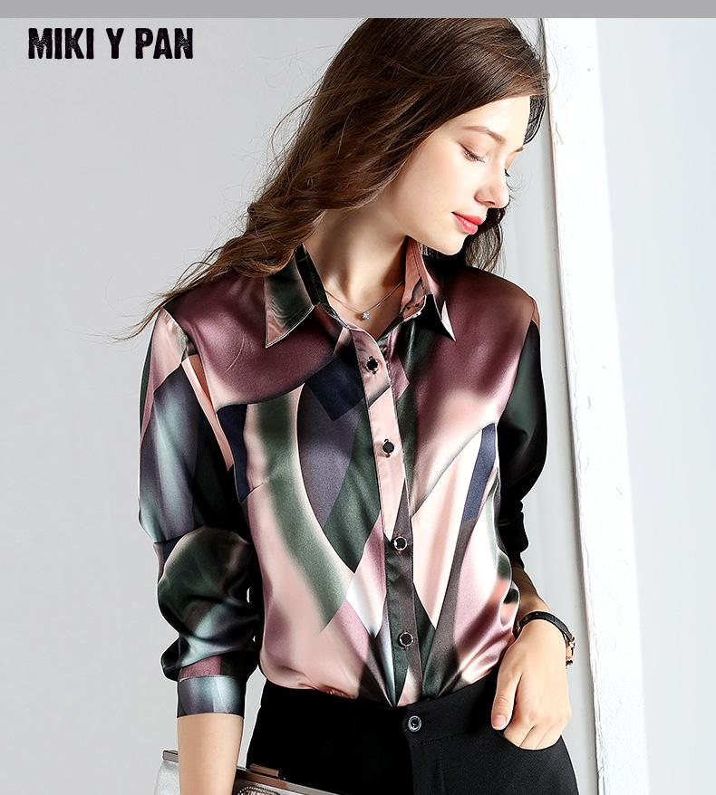 2019 NEW 92% Silk Blouse Office Lady Shirts Women's Shirt Long Sleeve Pure silk Women Tops Blouses Plus Size blusa 4XL 19mm