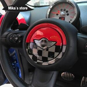 Image 5 - Para mini cooper r55 r56 r57 r58 r59 r60 r61 clubman countryman volante centro 3d dedicado adesivo do carro decalque capa 2 pçs