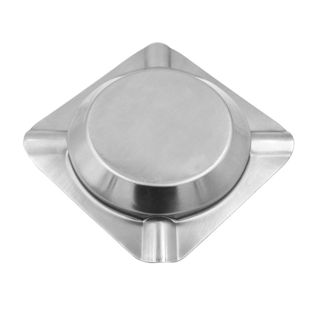 1Pc Cigarette Ashtray Stainless Steel Round and Squared Shape Ashtray For Hotel Bar Restaurant Smoking Accessories in Ashtrays from Home Garden