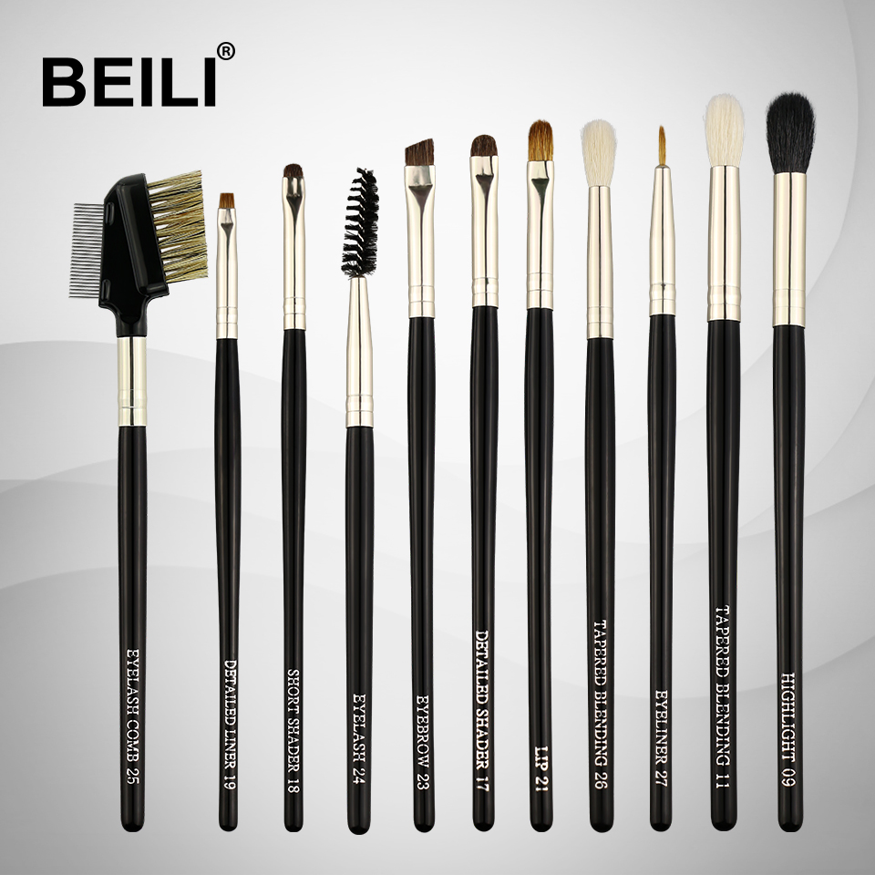 BEILI Weasel Goat Hair Horse Synthetic Black handle Eye shadow liner Lip lash Black 11pcs Makeup Brushes Set beili 234 natural goat hair pink smoky shade single eye shadow definer makeup brushes