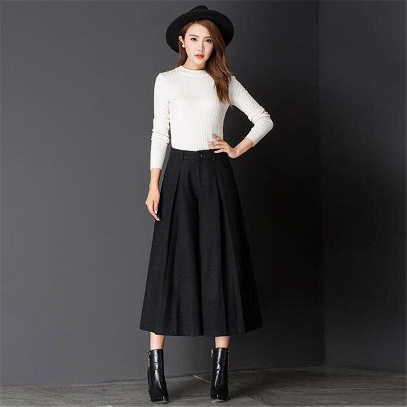 Taille Jambe Automne Taille Casual Pantalon Hiver Haute Plus Large Femmes Noir De Mode Nouveau La Laine ardoisé qOYgq4H