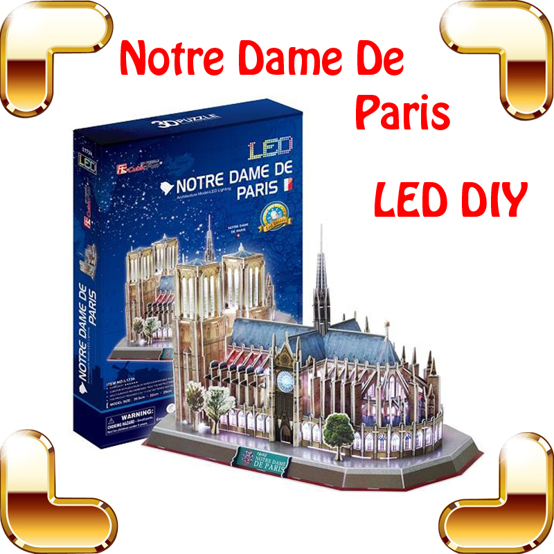 New Arrival Gift Notre Dame De Paris 3D Puzzles Model Building Construction LED Display Toys Education DIY Puzzle Assemble Toy