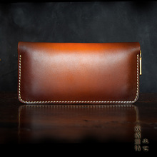 OLG.YAT leather handmade wallet mens handbag womens purse Italian Vegetable tanned cowhide long zipper handbag retro Choi cloth