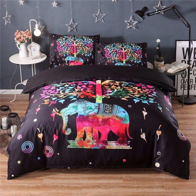 Bedding Black Bedding Colorful Bohemian Printing Set Down and Pillowcase  Indian Elephant Exotic Bedding Textiles