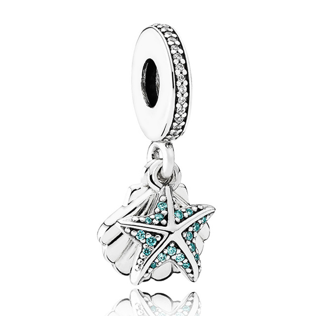 Real 925 sterling silver bead charm starfish shell with crystal real 925 sterling silver bead charm starfish shell with crystal pendant beads fit pandora bracelet mozeypictures Gallery