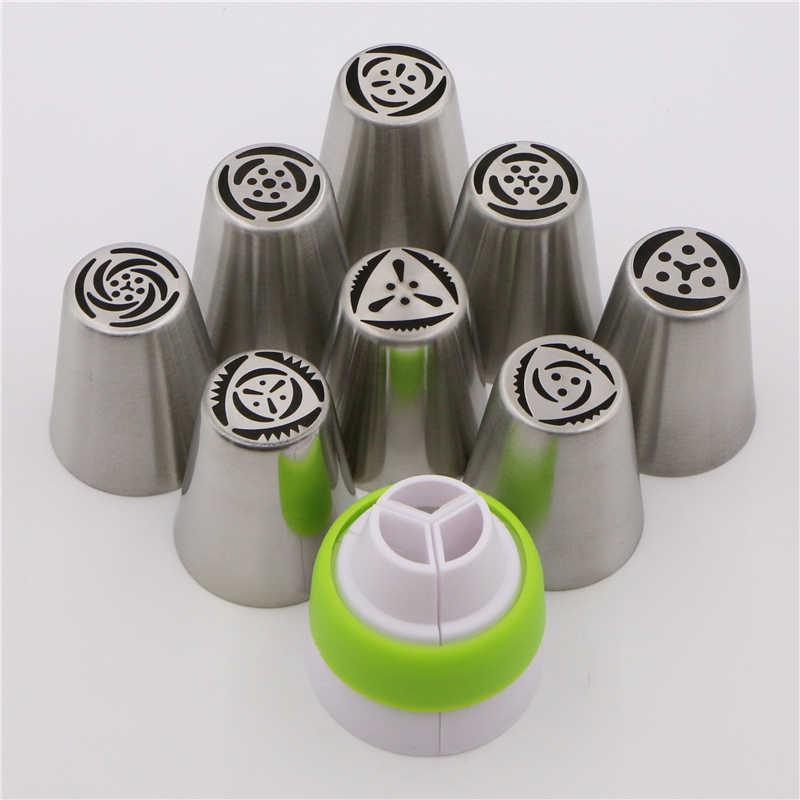 Medjelio 8 Pcs Aksesoris Dapur Kue Kue Alat Stainless Steel Nozel Rusia Piping Tips + 1 Pcs Baking Konverter Skrup