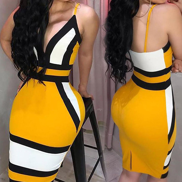 Strip Camis Dress Women Sexy Geometric Figure Yellow Strap Bodycon Casual Deep V Neck Boho Resort High Waist Club Party Dress 1