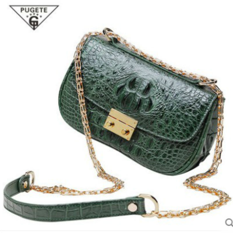 pugete 2017 new crocodile leather handbag shoulder bag Thai leather diagonal package crocodile leather bag female chain package delin foreign female bag bag handbag shoulder aslant crocodile grain lady handbags package a undertakes the new trend
