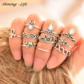 10pcs/Set Vintage Anillos Unique Carved Antique Silver Ring Crystal Elephant Moon Knuckle Rings Set for Women Boho Beach Jewelry
