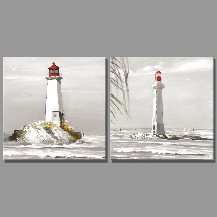 2 Piece white Lighthouse beach oil painting Seascape Home Decor Wall Painting Paintings for living room