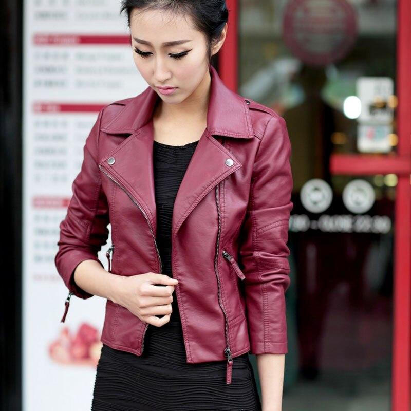 Pu   Leather   Jacket 2018 Women Fashion Bright Colors Black Motorcycle Coat Short Faux   Leather   Biker Jacket Soft Jacket Female