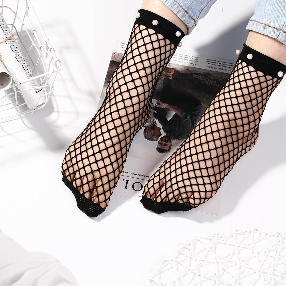 1pc Women Ruffle Fishnet Ankle High Socks Mesh Lace Fish Net Short Socks Xmas //O