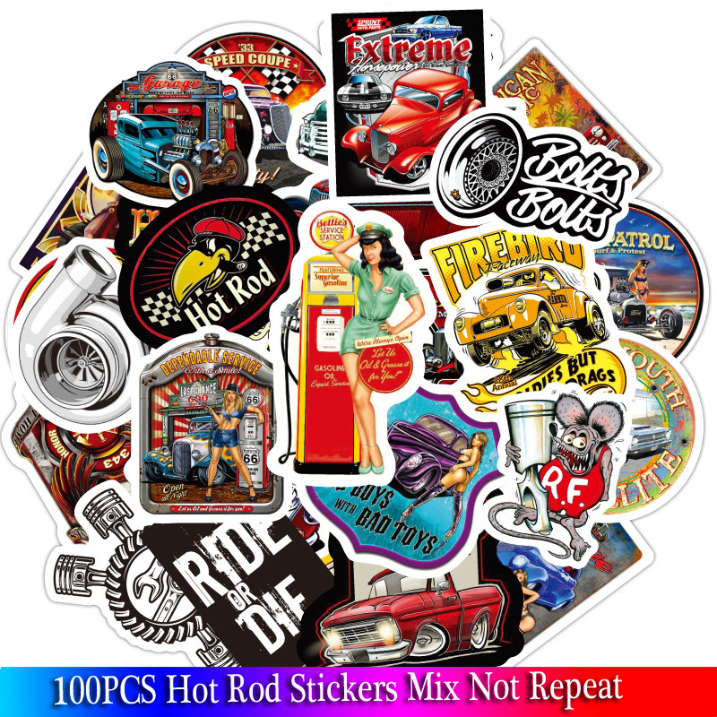 100PCS Pack Hot Rod Stickers For Adults Luggage Skateboard Laptop Motorcycle Anime Sticker
