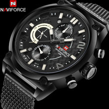 NAVIFORCE brand men dress watches hot fashion men's black quartz watches mesh band 30M waterproof wristwatches relogio masculino