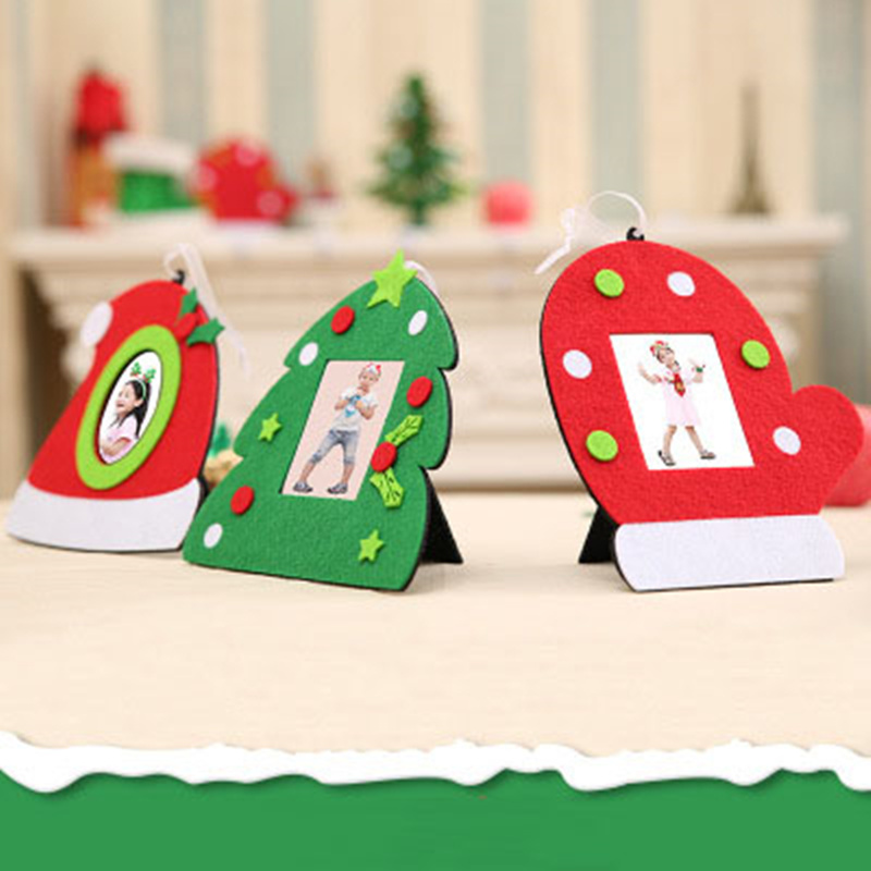 Christmas Decor Non-woven Christmas Photo Frame Picture Holder Frame Xmas Tree Ornaments Gift Decoration For Home