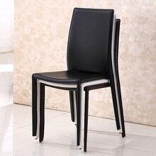 Простой и современный кожаный обеденный стул stackale