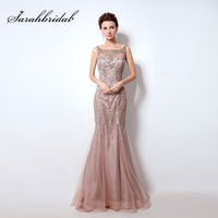 Retro Blush Tulle Mermaid Evening Dresses Illusion 2016 Real Picture Luxury Beading Women Prom Gowns Sleeveless