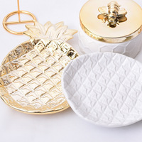 Electroplated Golden Pineapple Leaves Jewelry Plate Ceramic Storage Tray Decorative Plate