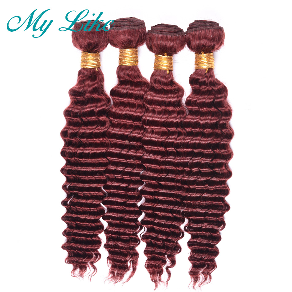 My Like Pre-colored Brazilian Deep Wave Bundles Hair 99j Red Burgundy Human Hair Weave 4Pcs Non-remy 100% Human Hair Extensions