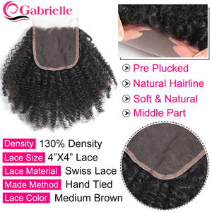 Image 2 - Gabrielle Hair Afro Kinky Curly Bundles with Closure Brazilian Human Hair Natural Color Remy Hair Extensions Free Shipping