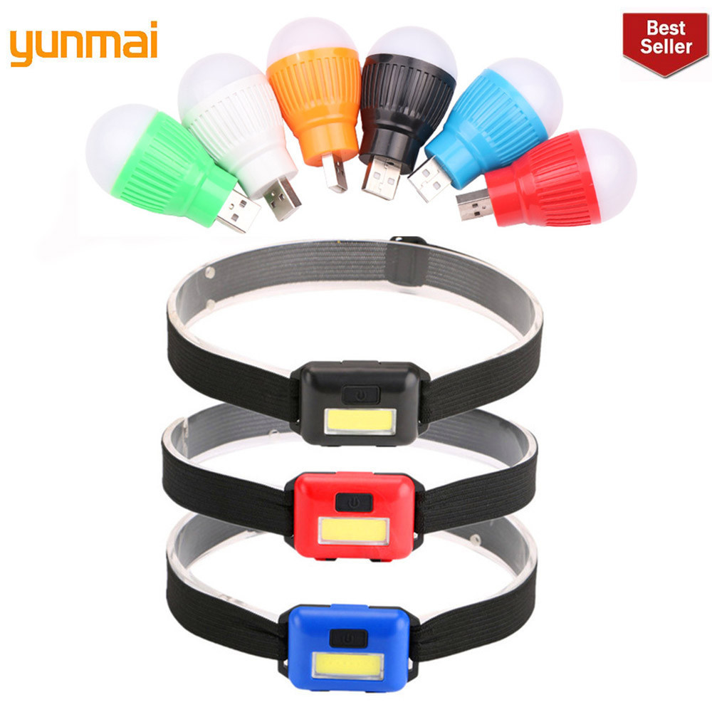 YUNMAI Mini Waterproof Cob Led Headlamp Headlight 3-modes Head Light Torch Lantern By 3xaaa For Outdoor Camping Fishing Hiking
