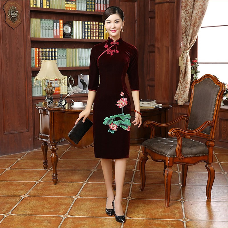 Bride Mom Wedding Gown Cheongsam Chinese Traditional Dress Fashion Embroidery Long Qipao Oriental Collars Women Free Shipping