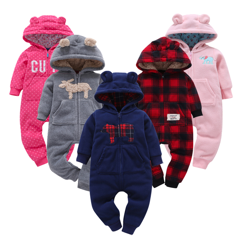 2019 Cute Bear Baby   Romper   Fleece Jumpsuit Bebes Hooded Warm Autumn Overalls Girls   Romper   Boys Clothes Newborn Baby Outfits Bebe