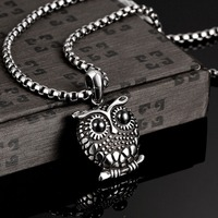 Punk Gothic Vintage Style 361L Stainless Steel Animal Owl Pendant Necklace For Men Fine Jewelry Free