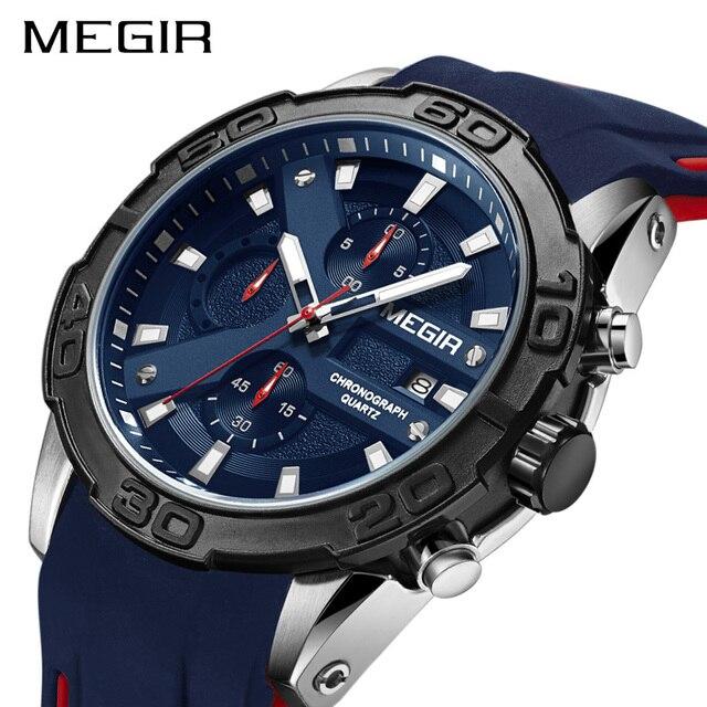 MEGIR Brand Creative Sport Watches Men Fashion Silicone Analog Quartz Wrist Watch Big Dial Waterproof Clock Relogio Masculino