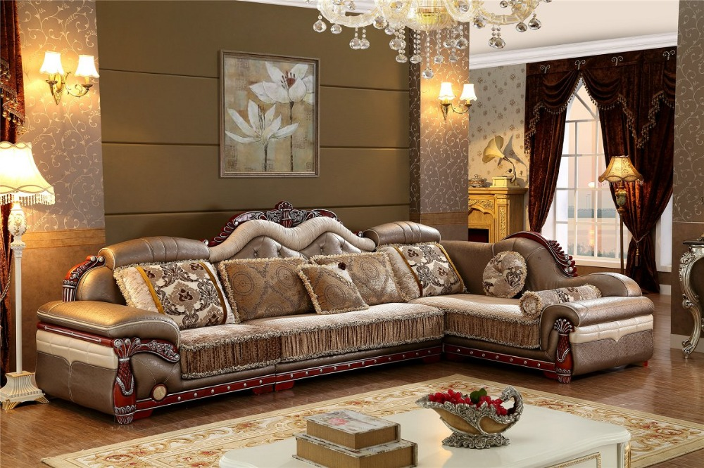 2016 No Chaise Living Room New Arriveliving Antique European Style Set Fabric Hot Sale Low Price