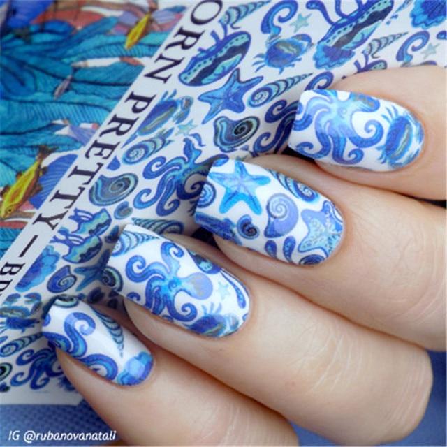 2 Patterns/Sheet BORN PRETTY Ocean Fish Nail Art Water Decals Transfer  Sticker BPY34 - 2 Patterns/Sheet BORN PRETTY Ocean Fish Nail Art Water Decals