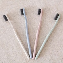 Portable Travel Toothbrush Soft Bamboo Charcoal Wheat Stalk Handle Oral Care Nano-antibacterial Toothbrush Mini Heads 4 Color HB