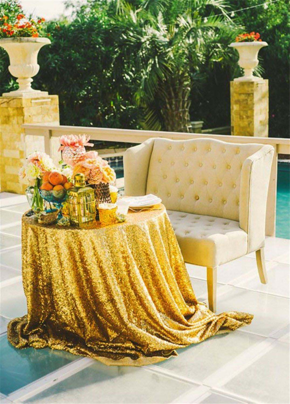 96 inch round tablecloth - 96 Inch Round Gold Sequin Tablecloth Wedding Beautiful Gold Sequin Table Cloth Overlay Cover