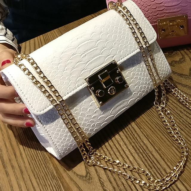 Senhoras da moda Crocodilo Flap Bag Bolsas de Grife Mulheres Sacos 2018 Preto Branco Pequeno do Dia Da Embreagem Corrente de Ouro Meninas Crossbody Sacos