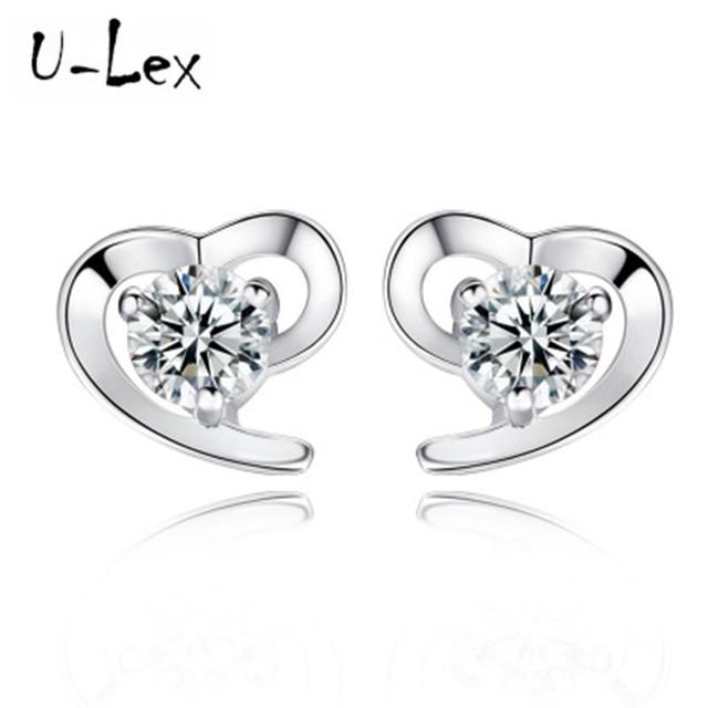 2018 New Fashion Korean Earring Beautiful Shiny Heart Earrings Stud Sterling Silver 925 For Women