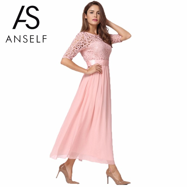 Plus Size 3XL 4XL 5XL Lace Dress Women Chiffon Dress Long Gowns Slim  Elegant Ladies Evening 027af6673408