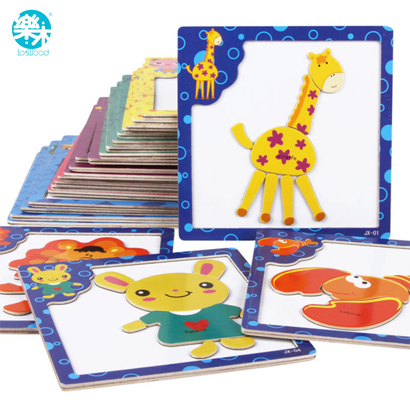 3D Magnetic wooden Puzzle jigsaw puzzle for children early education wooden toy cartoon animals puzzles table