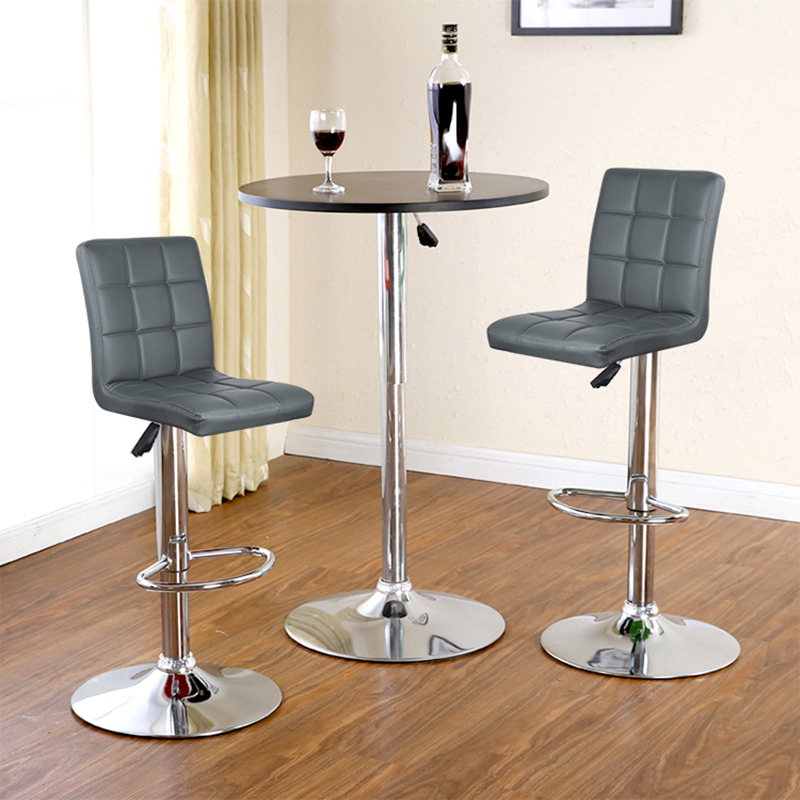 JEOBEST 2PCS/Set 9 Grid Black Grey PU Leather Swivel Bar Stools Chairs Height Adjustable Counter Pub Chair Free Ship HWC