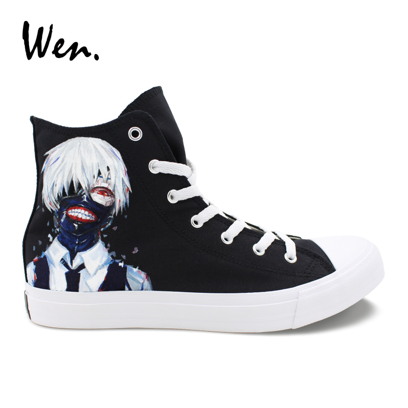Wen Anime Unisex Design Hand Painted Athletic Shoes Tokyo Ghouls High Top Black Canvas Sneakers Boy's Sport Espadrilles wen design custom astronaut outer space moon galaxy hand painted black canvas sneakers high top adults unisex athletic shoes