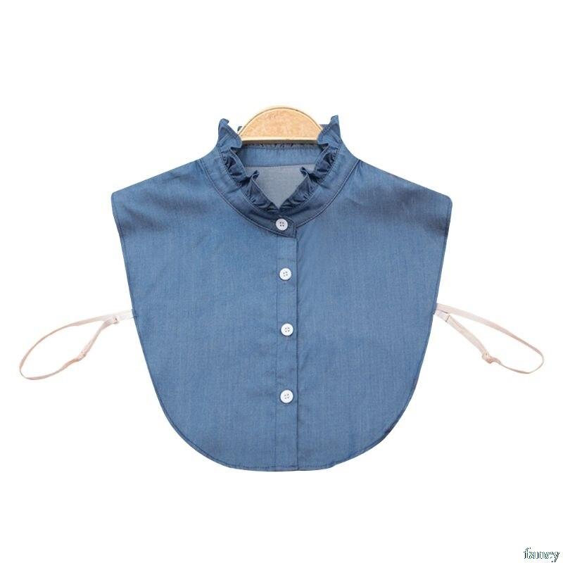 Women Shirt Fake Collar Denim Tie Fashion Detachable Collar False Collar Lapel Blouse Top Adjust Clothes Accessories