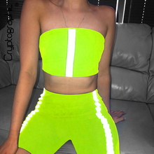 Cryptographic Neon Green Fashion Holographic Women Set Summer Strapless Tops Two Piece Sexy Outfits High Waist Biker Shorts
