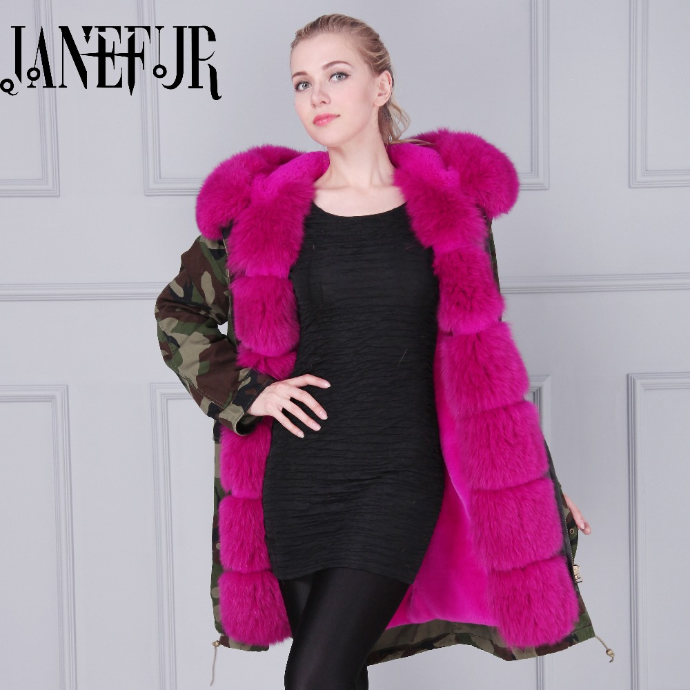 Genuine Fox Fur Collar Coat New Fashion Womens Winter Jackets And Coats Hooded Faux Fur Coat Warm Luxury Fox Fur Parkas 2017 winter new clothes to overcome the coat of women in the long reed rabbit hair fur fur coat fox raccoon fur collar