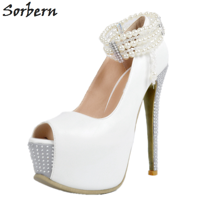d880f62bc0f89 Sorbern 2018 White Rhinestone Women Pumps Bridal Wedding Shoes Plus Size  Slip On Peep Toe Ladies Platform Shoes New Arrive Pearl