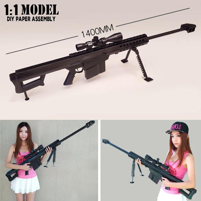 1:1 Barrett 140 Cm Spielzeugpistole Modell Papier Montiert Pädagogisches Spielzeug Hochbau Spielzeug Karte Modellbau Sets