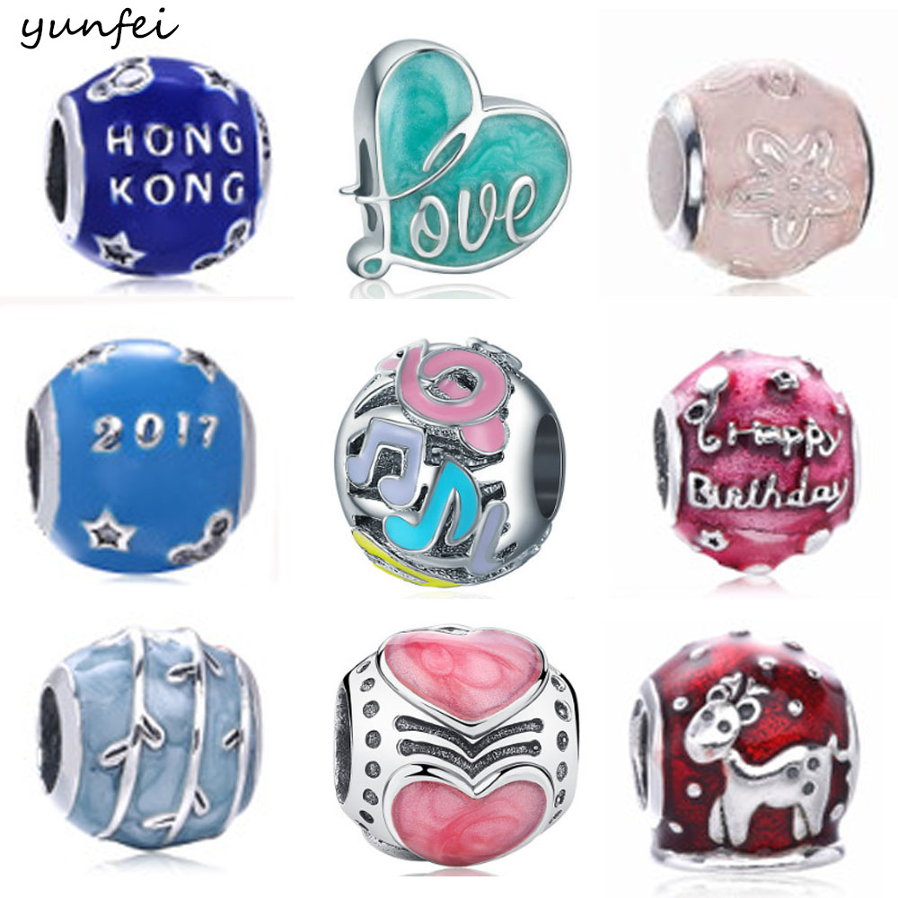 925 Sterling Silver Beads Fit Original Pandora Charms Bracelets Happy Birthday Charm With Clear Blue Cubic Zirconia Berloque