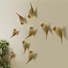 Creative Bird Shape Wall Hooks Home Decoration Resin Wood Grain Storage Rack Bedroom Door After Coat Hat Hanger 3D Coat Holder