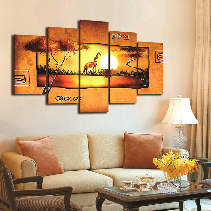 Hand Painted Abstract Oil Painting Sunrise Landscape Canvas Painting Giraffe Painting 5pcs Wall