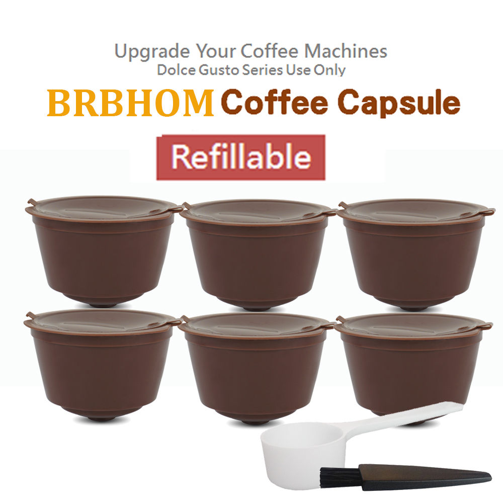 4Pcs 6pcs Reusable Dolce Gusto Coffee Capsule Plastic Refillable Compatible Dolce Gusto Coffee Filter Capsules With