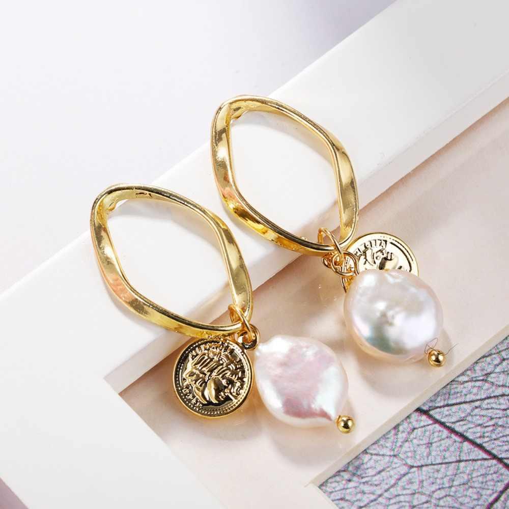 Barok tatlısu inci küpeler kadınlar için doğal deniz kabuğu Dangle bırak küpe altın renk büyük bildirimi Oorbellen takı